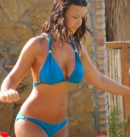 blue wet bikini top heavy girl