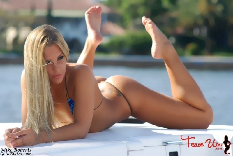 Nude bikini models on boats