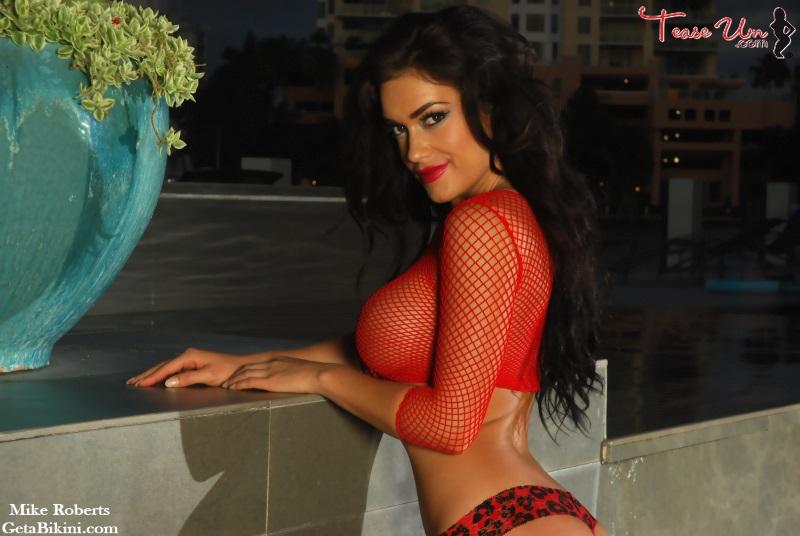 cj sextom teaseum bikini model see thru red top