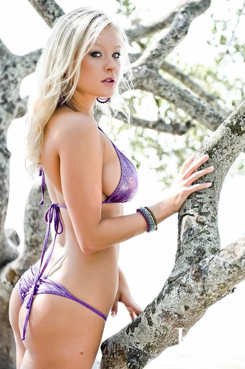 blonde in thong tree purple model kim jade