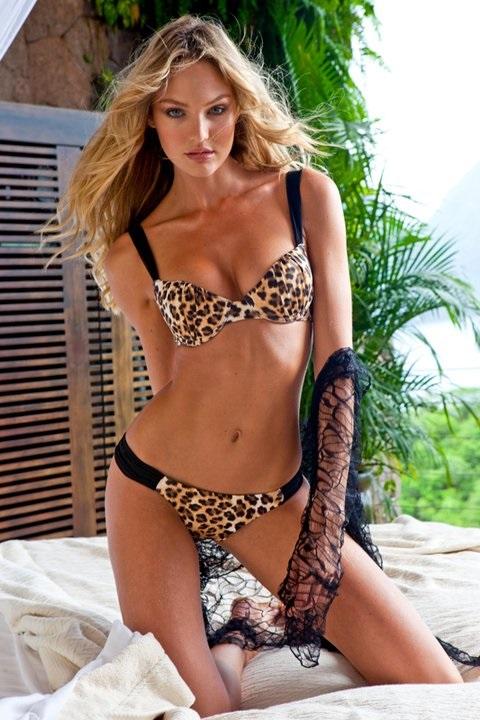 leopard Candice Swanepoel modeling shots bikini